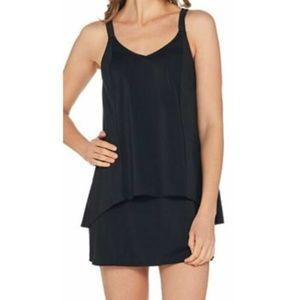 Denim & Co. Beach High Low Tankini Swimsuit Black